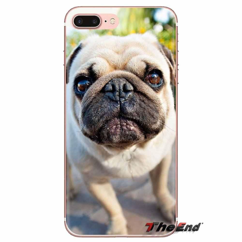 นุ่มโปร่งใสกรณีสำหรับ LG SPIRIT Motorola Moto X4 E4 E5 G5 G5S G6 Z Z2 Z3 G2 G3 C Play PLUS MINI Pug Dog