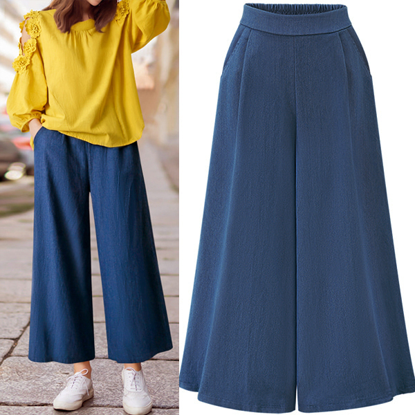 CINESSD The Sexy Flare Pants For Women Autumn Blue Elastic Waist Wide Leg Culottes Stretch Trouser Female Clothing Plus Size 4XL