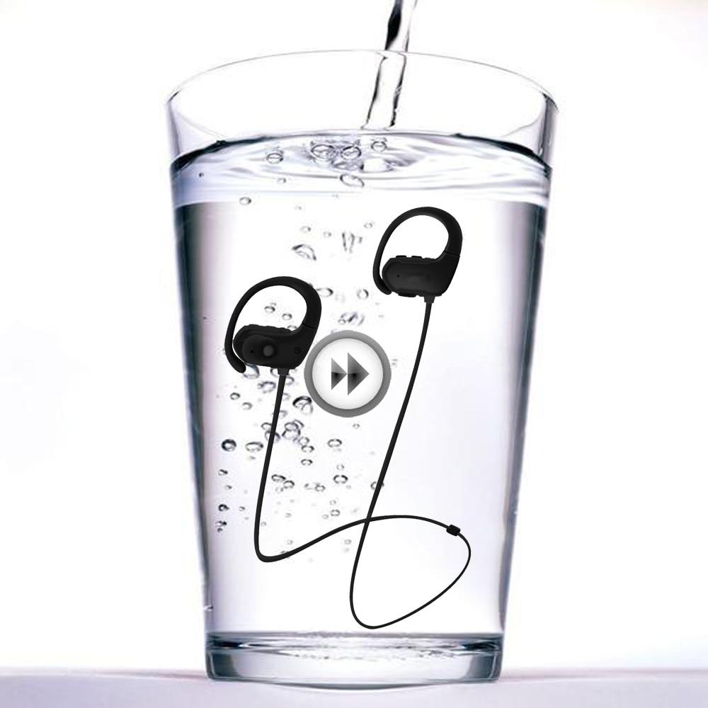 True Waterproof Fitness Sports Running Wireless Bluetooth MP3 Music Player Headphone Headsets Earphones With 8G Memory Card