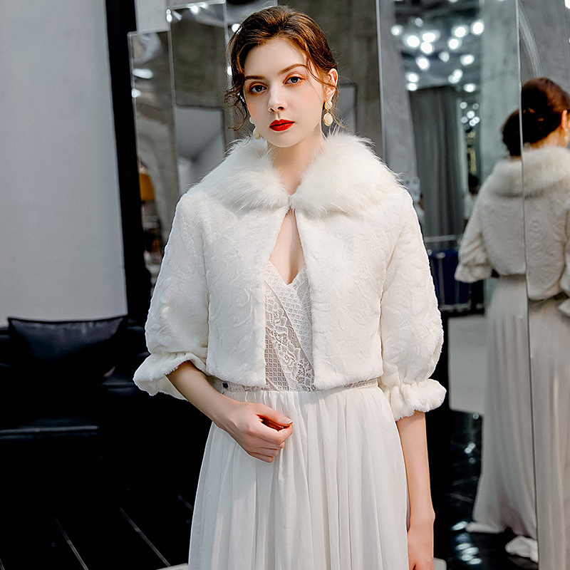 Wedding Bridal Jacket Autumn Winters Is Sable Son Woven Fur Overcoat Brief Paragraph The Bride Wedding Dress Cape Han Edition