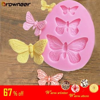 Mariposa molde de silicona hornear accesorios 3D DIY artesanía de azúcar Chocolate cortador molde Fondant torta decoración Herramienta 3 colores