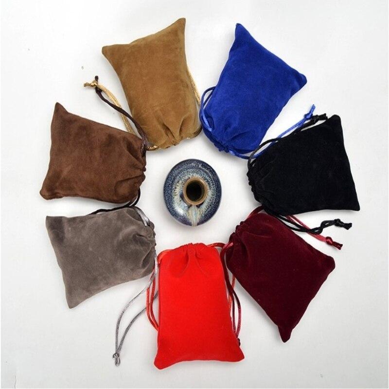 Échantillon de sac de cordon bon marché de petite taille avec 1 logo de couleur dans le matériel microfibre de toile de satin de lin de jute de coton de velours et autre - 3