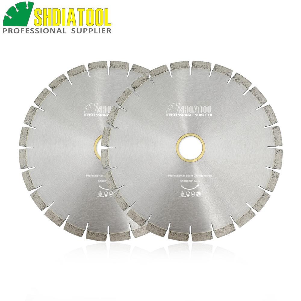 SHDIATOOL 2pcs Dia 14 Diamond Silent Saw Blade Sandwich Steel Core Cutting Disc Bore 60mm 50mm Granite Blade Diamond Wheel