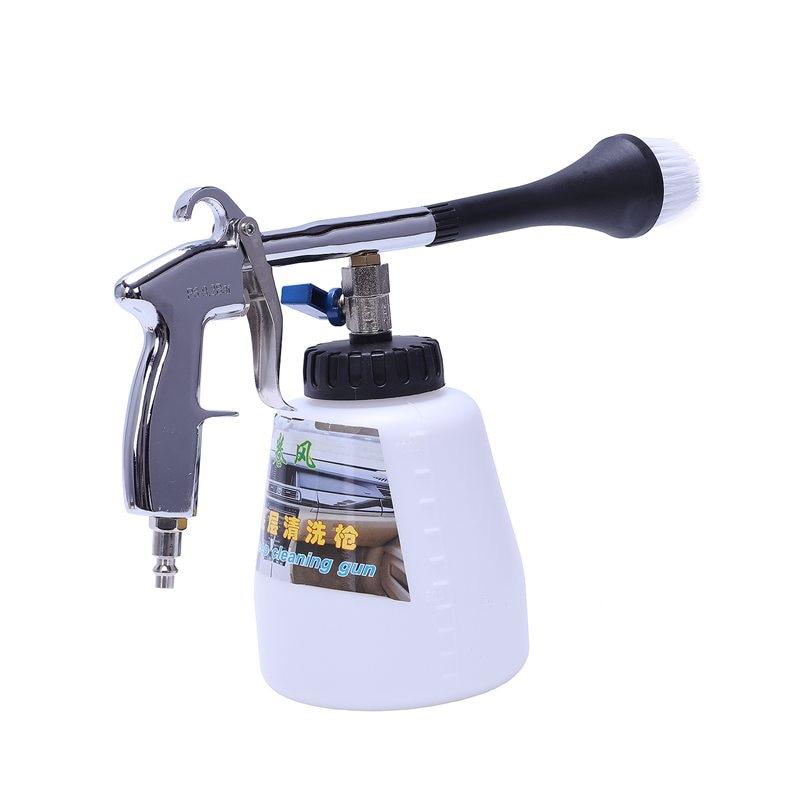 Air Pulse Device Tornado Pneumatic Dust Gun Car Interior Cleaning Gun Portable Air Gun (US Interface) With Brush Head