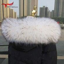Воротник из натурального меха 60 см-80 см, зимнее пальто с воротником из натурального меха енота для мужчин и женщин, Детская куртка, Высококачественный меховой воротник