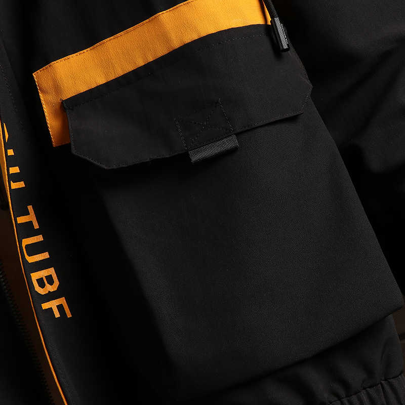 Mężczyźni Cargo kurtki-pilotki projektant japoński Steetwear jesień duże kieszenie Harajuku wiatrówka hiphopowa płaszcze koreański moda, GA401