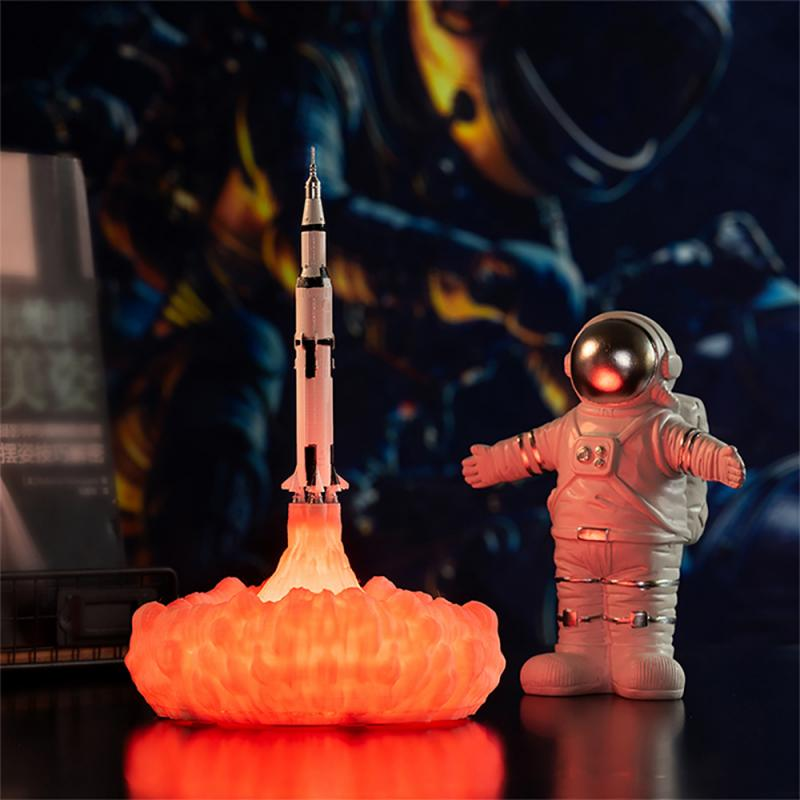 Newest Dropship 3D Printing Saturn V Lamps Rechargeable Night Light Apollo 5 For Moon Earth Space Lover As Room Decorat