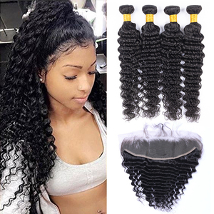 10 A cambodian deep wave curly bundles with forntal 13x4 human hair frontal with bundles for free shipping(China)