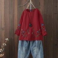Плюс Размер Женская блузка рубашка винтажная Цветочная вышивка дамы Blusas Повседневная Туника Топы Blusa Feminina женская одежда 5XL