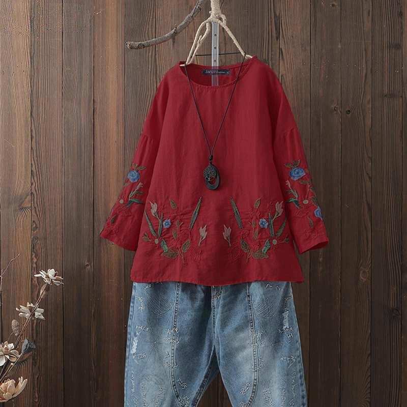 Grande taille femmes Blouse chemise Vintage Floral broderie dames Blusas décontracté tops tuniques Blusa Feminina femmes vêtements 5XL