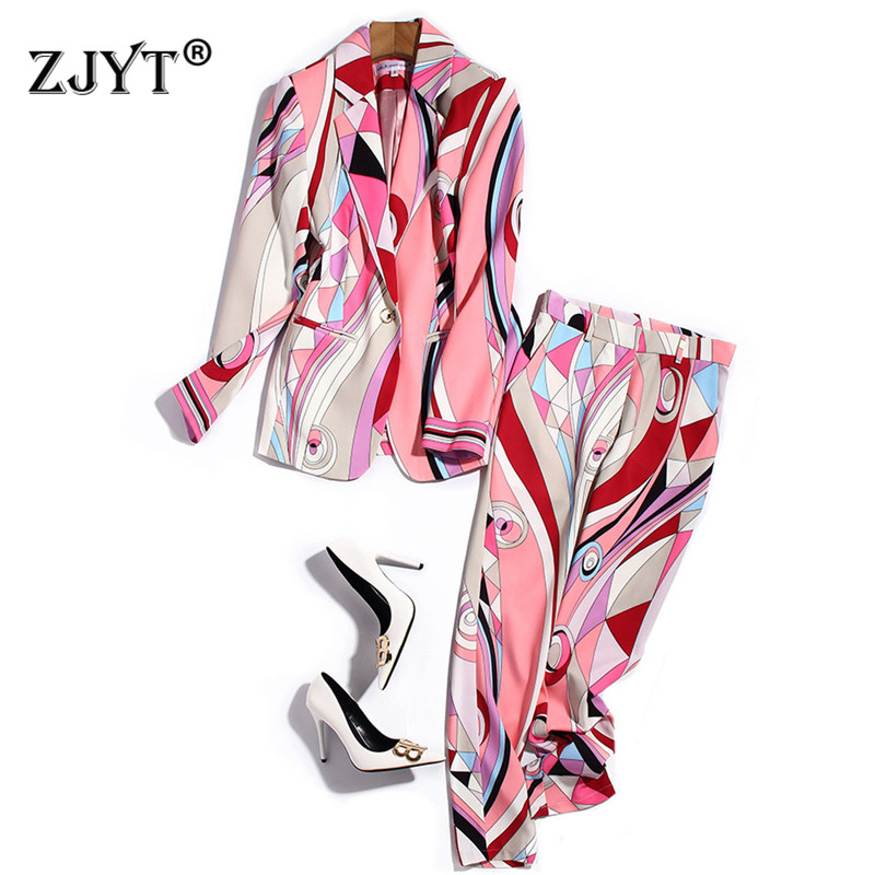 Elegant Celebrity Party Two Piece Outfits Women Spring Runway Fashion Geometirc Print Blazer and Pants Suit Office Matching Set