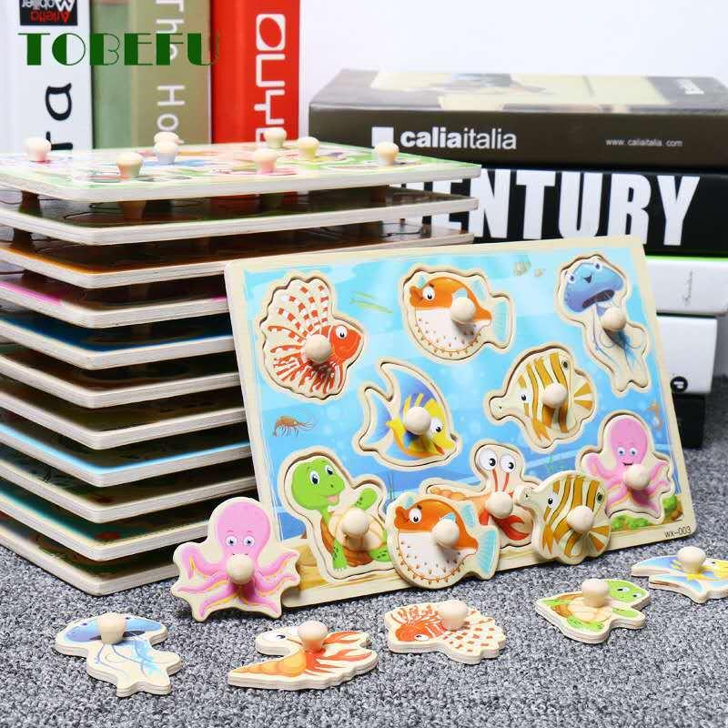 Tobefu montessori quebra-cabeça de madeira brinquedos do bebê dos desenhos animados veículo animal marinho conjunto de placa educacional brinquedo de madeira presentes da criança