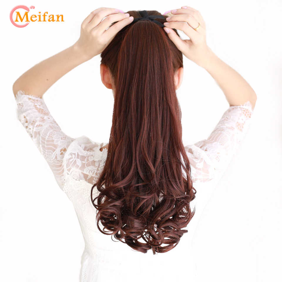 MEIFNA Long Wave Curly Synthetic Ponytail Black Brown Ribbon Drawstring Clip In Ponytail Hair Extensions Heat Resistant Ponytail