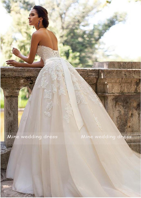 Glamorous Sweetheart Neck Wedding Dress Vestidos de Novia 2021 Lace Appliques with Belt Lace Up Wedding Gowns Robe Mariage 2