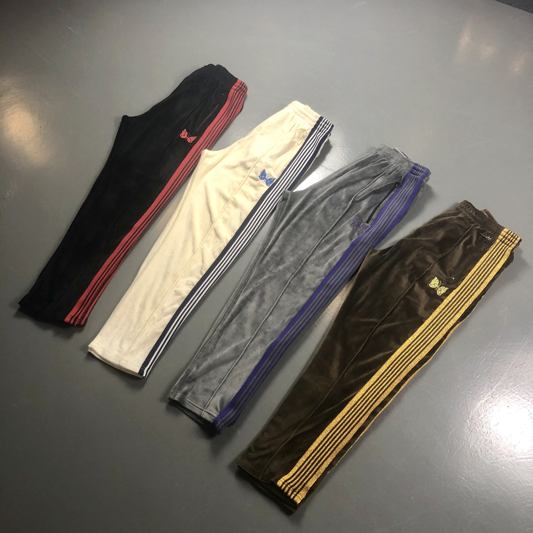 AWGE X Needles Pants Men Women Casual AWGE X Needles Sweatpants 19SS NARROW VELOUR  Butterfly Embroidery Trousers