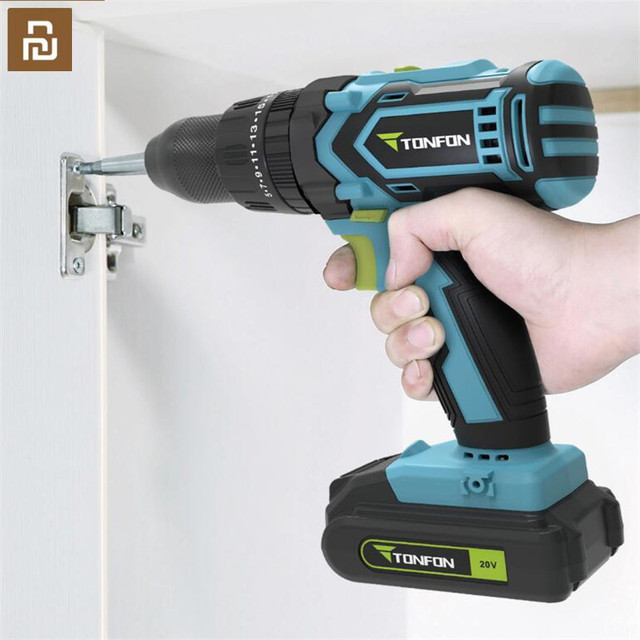 Youpin Tonfon Wireless Electric Cordless Drill Impact Power Driver 12/20V 2000mAh Battery 2 Speed EU Adapter For Home Work