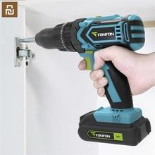 Youpin Tonfon kablosuz elektrikli akülü matkap darbe elektrikli tornavida 12/20V 2000mAh pil 2 hızlı ab adaptörü ev işi için