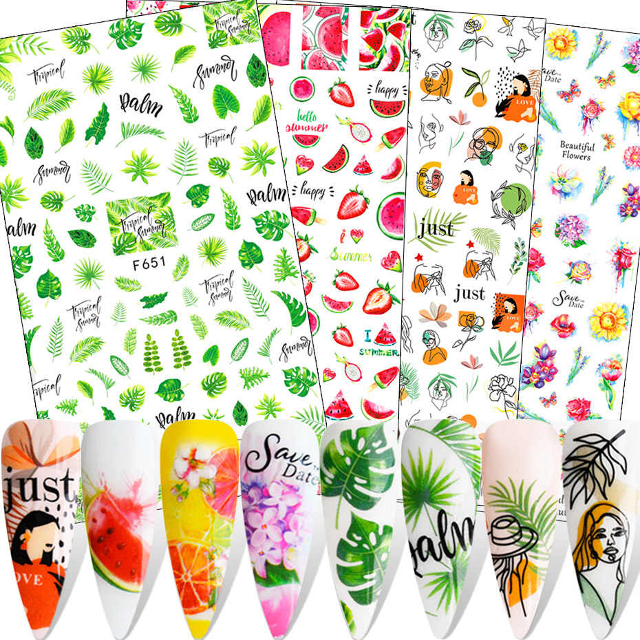 1Pcs Fruit Bloem Blad Sticker Abstract Gezicht Watermeloen Aardbei Citroen 3D Lijm Slider Zomer Nail Decoratie SAF644-653