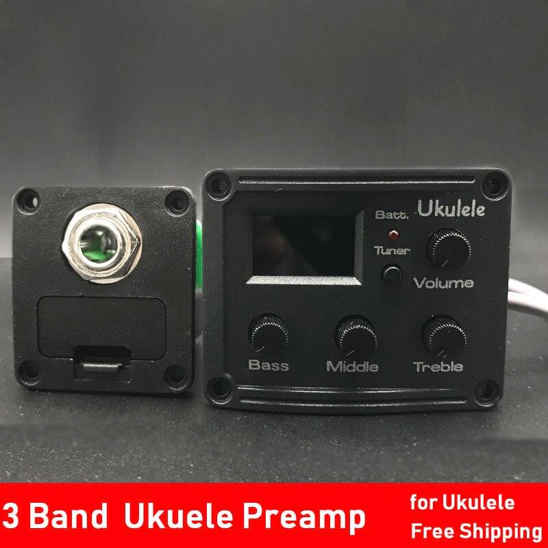 6/12Set ukulélé Piezo pick Uke 2/3 bande préamp Hawaii Mini Guitarra EQ égaliseur accordeur système UK-300T/UK-2000 guitare pick-up