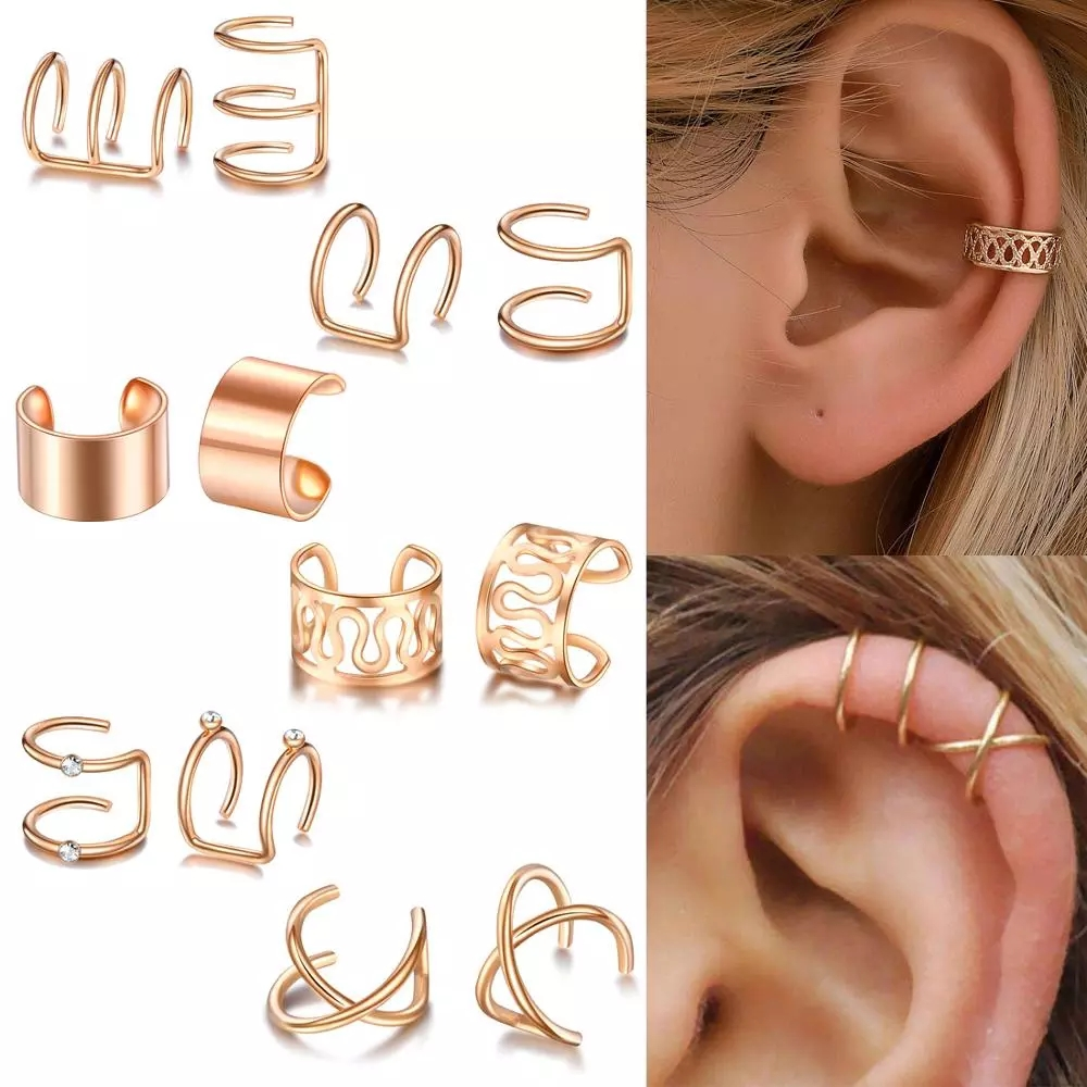 Jewelry Earring Ear-Clips Non-Piercing Gold-Leaves Fake Cartilage Women Wholesale
