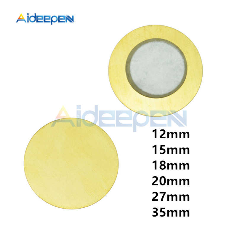 10Pcs/lot 12mm 15mm 18mm 20mm 27mm 35mm 6.5KHZ Piezo Elements Sounder Sensor Pad Round Trigger Drum Disc Copper