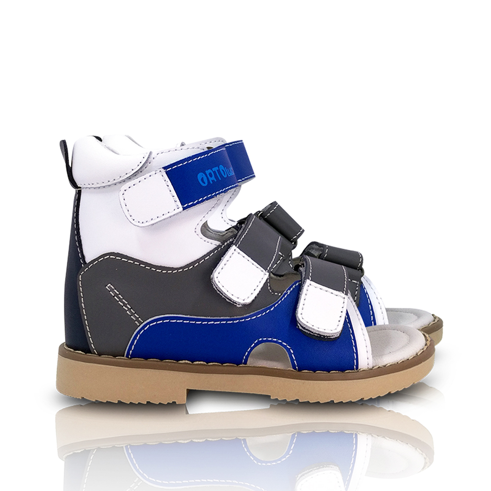 Children Boys Action Genuine Leather Sandals Orthopedic Shoes For Kids Arch Support Hook And Loop Strap Flatfeet X / O Leg Shoes