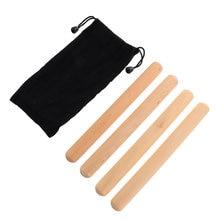 2 pares de palo rítmico Durable palo rítmico Lummi palo Musical instrumento de percusión de madera Claves con bolsa para niños principiantes K