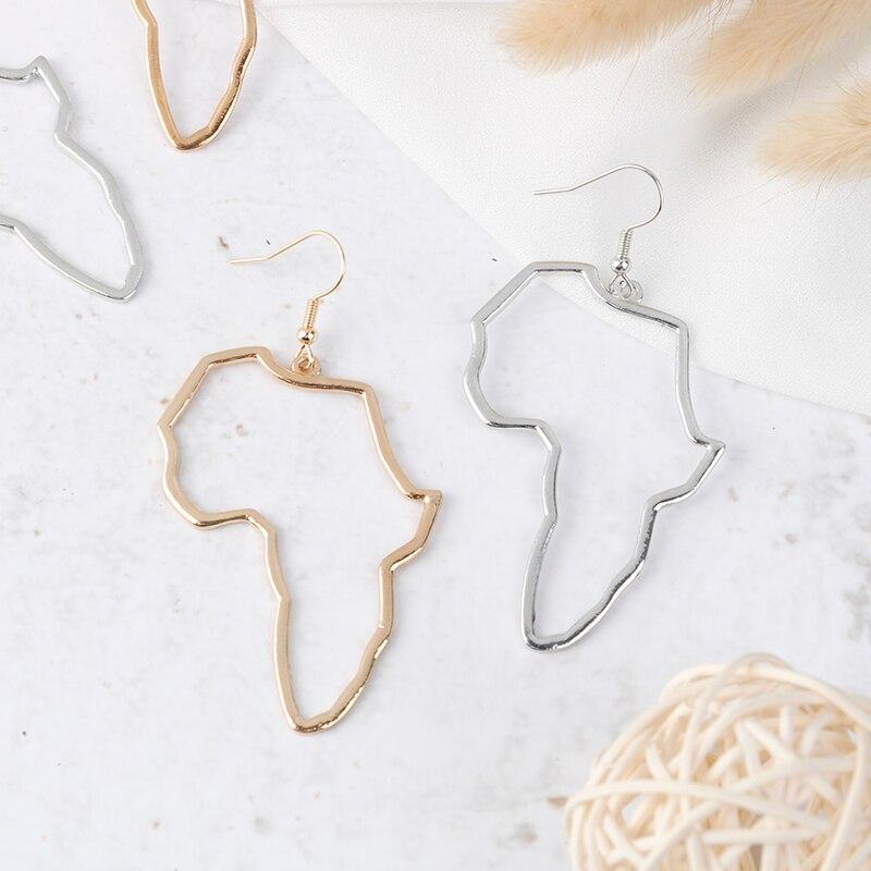 Pendientes grandes de mapa africano exagerados, pendientes grandes dorados/plateados, adornos africanos, regalo hipérbola étnico tradicional