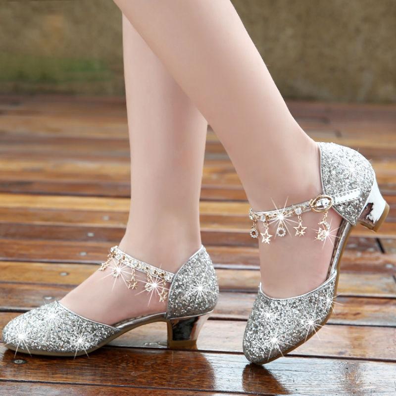 3 6 8 11 12 13 Years Fashion Kids Heel Crystal Shoes Sequin Dance Big Girls Wedding Wedge Dress Sandals Children Summer Sandals