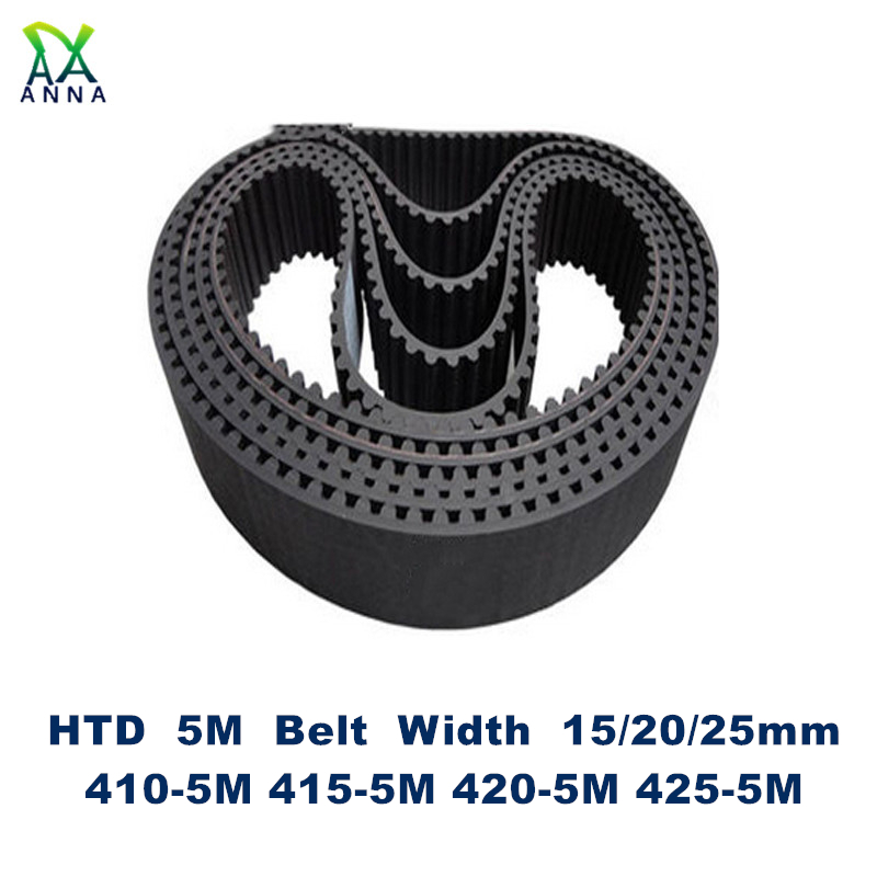 HTD 5M Timing belt C=410/415/420/425 width 15/20/25mm Teeth 82 83 84 85 <font><b>HTD5M</b></font> synchronous Belt 410-5M 415-5M 420-5M 425-5M image