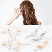 Women Convenient Alloy Clip Hairpin Metal Simple Arrow Pearl Hair Dryer Star Heart Geometric Shape Hair Sticks Hair Styling Tool delicate arrow shape triangle hairpin for women