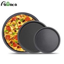 6 7 8 дюймов Премиум антипригарный противень для пиццы, посуда для выпечки из углеродистой стали, тарелка для пиццы, круглая глубокая тарелка, противень для пиццы, форма для выпечки, инструменты