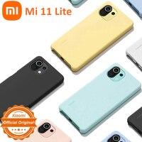 Xiaomi-funda de silicona para Xiaomi Mi 11 Lite, carcasa suave y amigable con la piel, azul, amarillo, rosa, Original y oficial