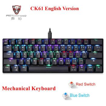 цена на Motospeed CK61Gaming Mechanical Keyboard English Red Switch Blue Metal Wired LED Backlit RGB Anti-Ghosting for PC Computer gamer