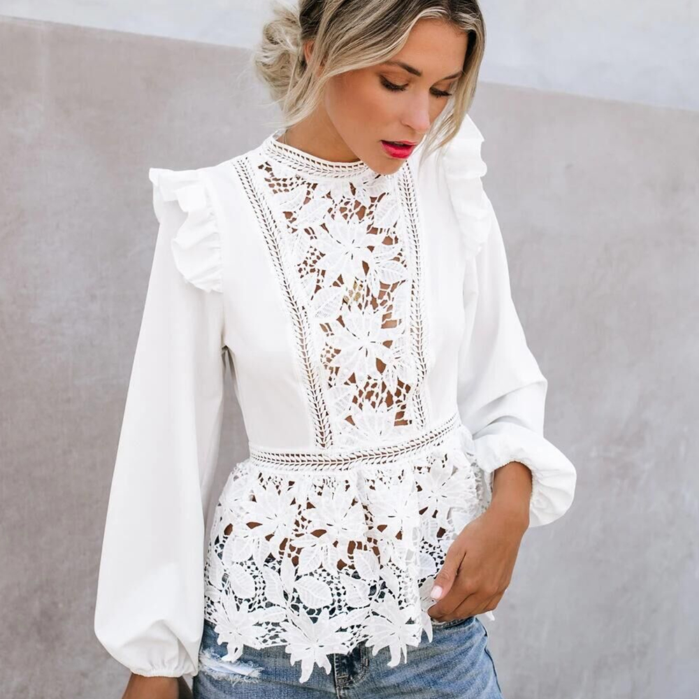 Womens Floral Lace Blouses Boho Long Sleeve White Tops Ladies Hollow Out Shirts Autumn Spring Elegant Blouse Streetwear S-XL