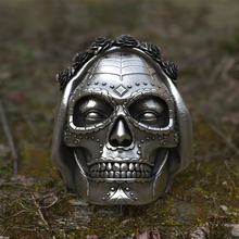 EYHIMD Goth Santa Muerte Ring Rose Crown Sugar Skull Stainless Steel Rings Womens Punk Biker Jewelry Unique Gift