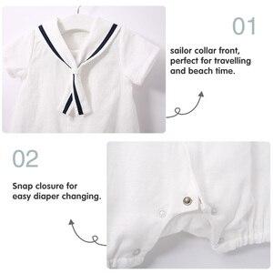 Image 5 - Комбинезон для новорожденных мальчиков Pureborn, матрос, праздничная детская одежда, летняя дышащая хлопковая одежда для мальчиков
