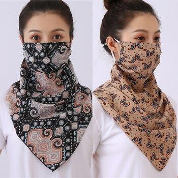 Large Women Face Mask Scarf Neck Wraps Fashion Print Chiffon Cover Anti Dusk Sun Protection Reusable Foulard Silk Bandana - discount item  50% OFF Scarves & Wraps