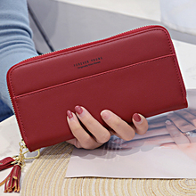 MONNET CAUTHY New Purse for Women Concise Fashion High Capacity Multi-card Slot Zipper Long Wallet Solid Color Blue Grey Wallets