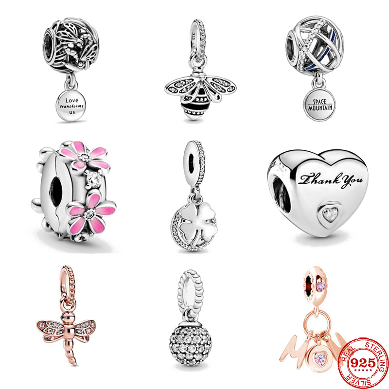 Newst 925 Sterling Silver Beads Pink Daisy Flower Clip penwork Dragonfly Fit Original Pandora Charms silver 925 Bracelet Jewelry(China)