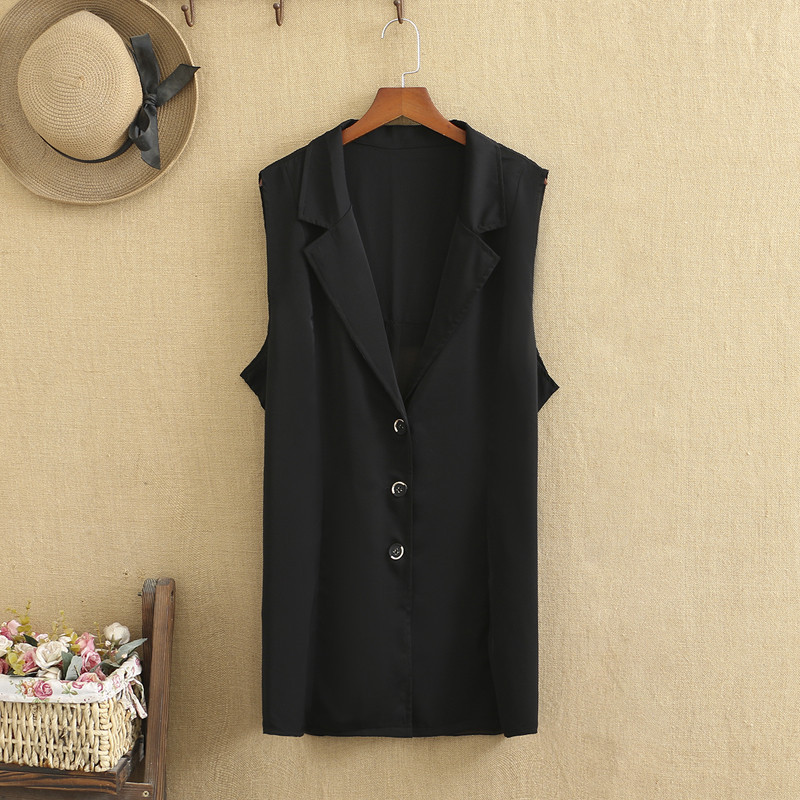 Plus Size Suit For Women High Quality Chiffon Fabric Splicing Thin Sleeveless Suit Outer Waistcoat Fashion Ladies  For Summer