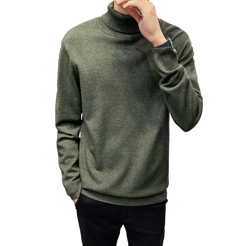 Autumn Winter Turtleneck Sweater Men Solid Color Long Sleeved Pullover Male Korean Style Slim Fit Knitwear Tops L-4XL