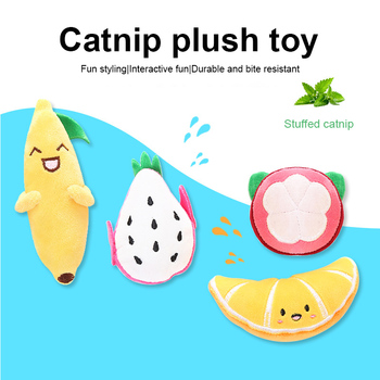 Pet Supplies Cat Plush Toy Modeling Puppet Fruit Series Soft Cat Self-hey Toy Eco-friendly Durable Pet Supplies Cat Mint+plush image