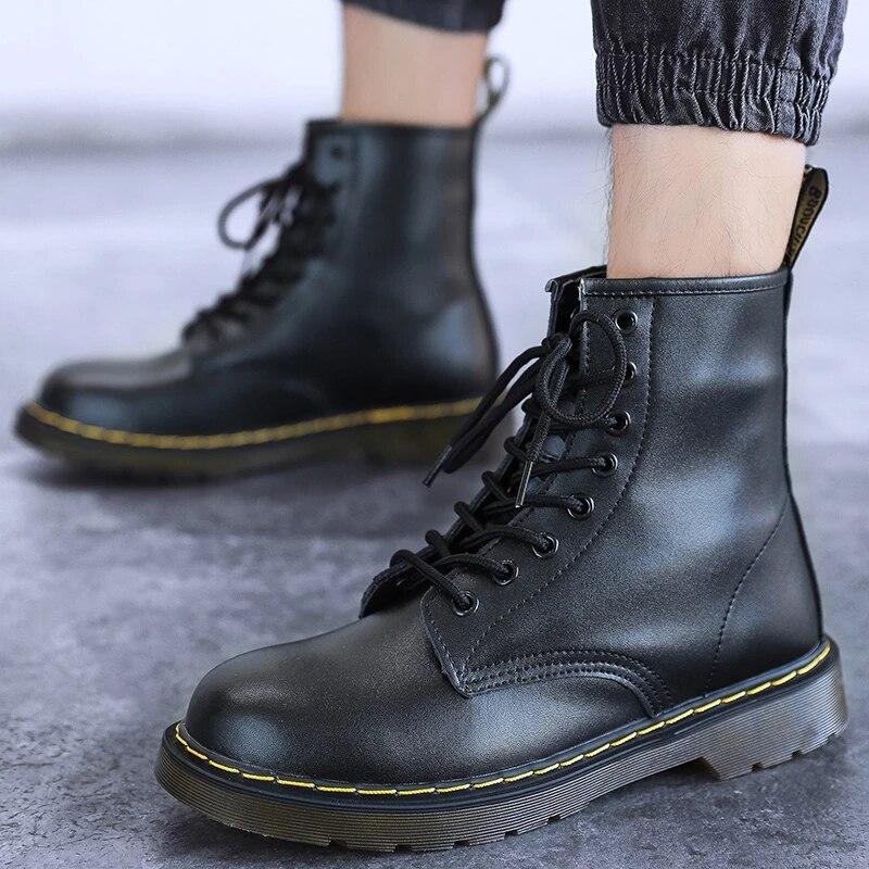 Мужские ботинки, новые ботинки унисекс из натуральной кожи, ботильоны для пар, ботинки на платформе, мужские ботинки Martin, мотоциклетные ботинки, женская обувь|Мотоциклетные ботинки| | АлиЭкспресс