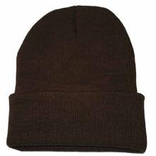 Вязаная шапка унисекс в стиле хип-хоп, женская и мужская зимняя теплая Повседневная Лыжная шапка, женская и Мужская одноцветная модная шапка