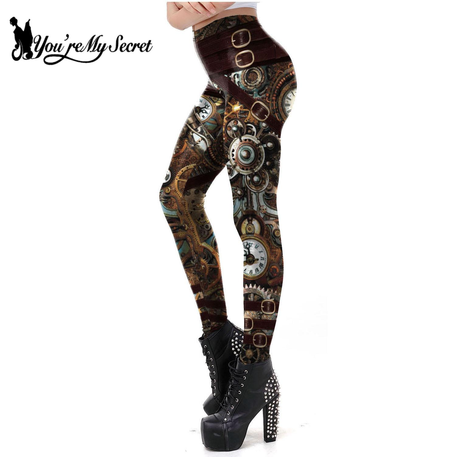 [You're My Secret] Vintage Mechanical Gear Women Leggings Workout Pants 3D Printed Steampunk Slim Leggins Fitness Sexy Legins