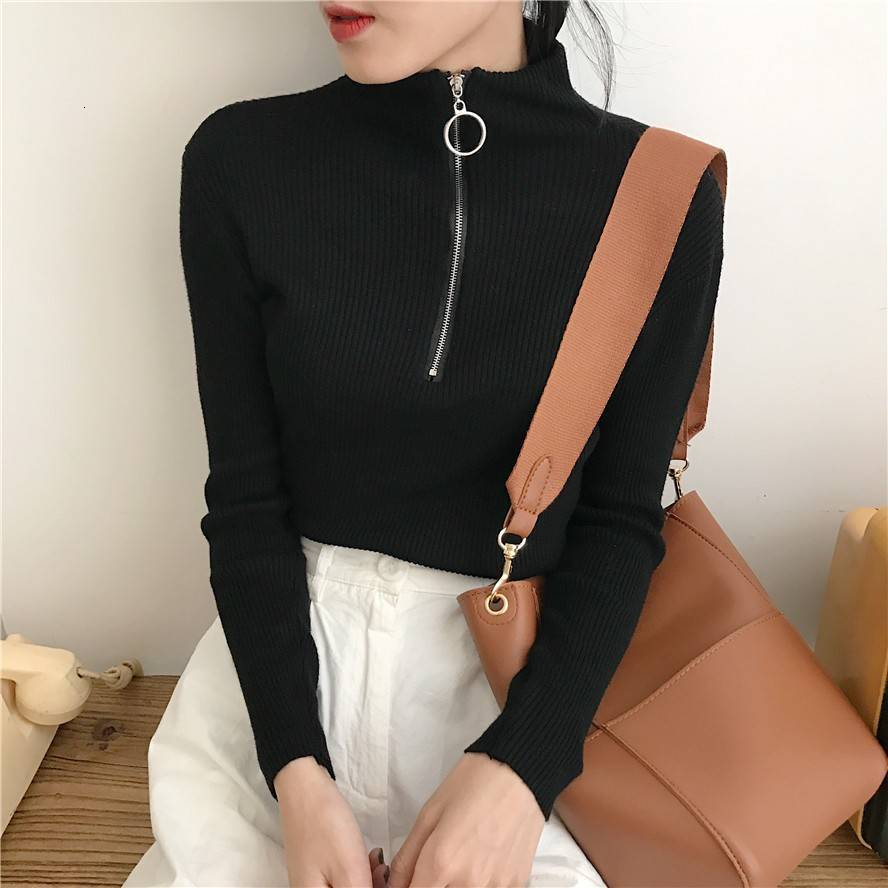 Zipper Turtleneck Sweater Women 2019 Autumn Winter Knitted Cashmere Sweater Women Pullover Women Sweater Robe Pull Femme Sweter