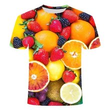 2021 Summer Children's Cute Fruit Puzzle 3D Printing Cartoon Colorful Boy and Girl Clothes; Loose And Fashionable Short-Sleeved