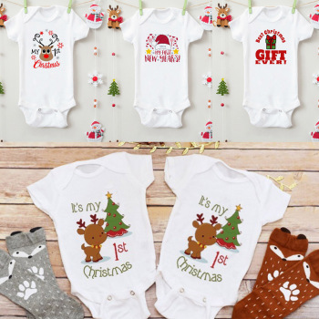 My First Christmas Baby Jumpsuit Bodysuit Cotton Short Sleeve Casual Baby Born Clothes For Girl Boys недорого