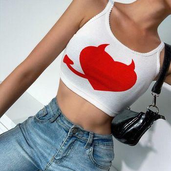 Mujer Top de verano sin mangas Devil estampado de corazones rojos camisola básica Sexy sin espalda festoneado de encaje entallada Chaleco de fiesta, ropa de calle